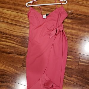 Hot pink wrap dress.